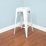 AC Pacific 29'' Bar Stool (Set of 2); White