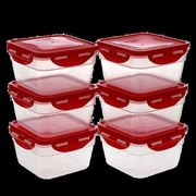 Lock & Lock 40 Oz. Food Storage Container (Set of 6); Red