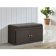 Wholesale Interiors Baxton Studio Baxton 2-Door Shoe Cabinet w/ Faux Leather Seating Bench; Espresso