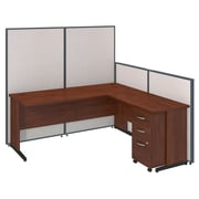 Bush Business Furniture 72W C-Leg L-Desk and 3 Drawer Mobile Pedestal with ProPanels, Light Gray (PPC025LG)