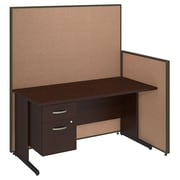 Bush Business Furniture 60W C-Leg Desk with 3/4 Pedestal and ProPanels, Harvest Tan (PPC018HT)