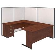 Bush Business Furniture 72W C-Leg U-Station and 3 Drawer Mobile Pedestal with ProPanels, Light Gray (PPC026LG)