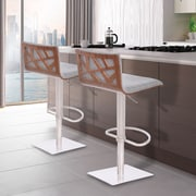 Armen Living Crystal Adjustable Height Swivel Bar Stool with Cushion; Grey