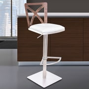 Armen Living Pisa Adjustable Height Swivel Bar Stool with Cushion; White
