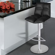 Armen Living Roma Adjustable Height Swivel Bar Stool with Cushion; Brushed Stainless Steel