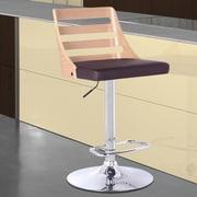 Armen Living Storm Adjustable Height Swivel Bar Stool with Cushion; Oak/Brown