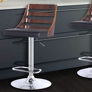 Armen Living Storm Adjustable Height Swivel Bar Stool with Cushion; Walnut/Black