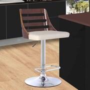 Armen Living Storm Adjustable Height Swivel Bar Stool with Cushion; Walnut/Cream
