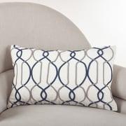 Saro Cord Embroidered Cotton Lumbar Pillow; Navy Blue