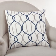 Saro Cord Embroidered Cotton Throw Pillow; Navy Blue