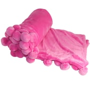 BOON Throw & Blanket Flannel Fleece Pom Pom Throw Blanket; Pink