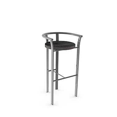 Amisco (40235-26WE/1B2484) Rendezvous Metal Counter Stool with Distressed Wood Seat, Glossy Grey/Medium Dark Grey