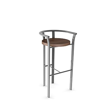 Amisco (40235-30WE/1B2487) Rendezvous Metal Barstool with Distressed Wood Seat, Glossy Grey/Medium Brown