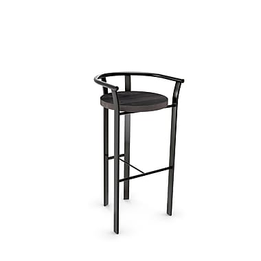 Amisco (40235-26WE/1B5184) Rendezvous Metal Counter Stool with Distressed Wood Seat, Gun Metal Finish/Medium Dark Grey