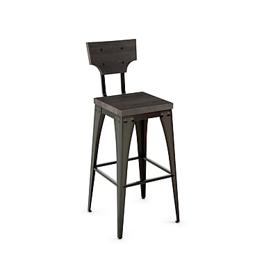 Amisco (40261-26WE/1B5184) Station Metal Counter Stool with Distressed Wood Seat/Backrest, Gun Metal Finish/Medium Dark Grey