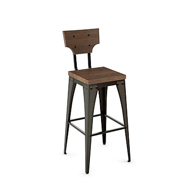 Amisco (40261-26WE/1B5187) Station Metal Counter Stool with Distressed Wood Seat/Backrest, Gun Metal Finish/Medium Brown