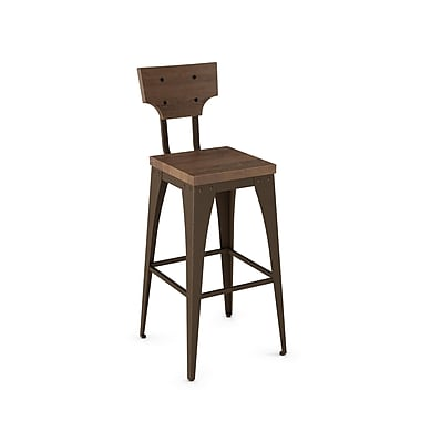 Amisco (40261-26WE/1B7487) Station Metal Counter Stool with Distressed Wood Seat/Backrest, Hammered Medium Brown/Medium Brown