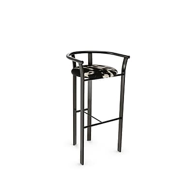 Amisco (40465-26WE/1B51GNF4) Lolo Metal Counter Stool, Gun Metal Finish/Soft Black/White Faux Cowhide
