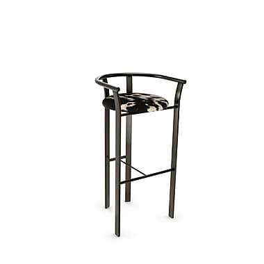 Amisco – Tabouret de comptoir en métal Lolo, gris métallique/doux noir/cuir de vache synt. blanc (40465-26WE/1B51GNF4)