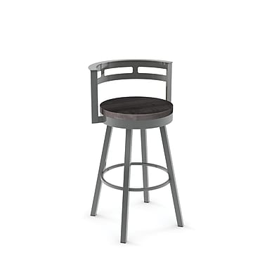 Amisco (41243-30WE/1B2484) Vector Swivel Metal Barstool with Distressed Wood Seat, Glossy Grey/Medium Dark Grey