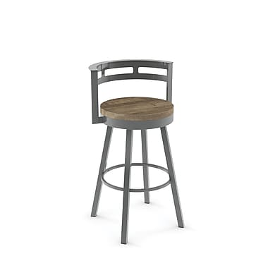 Amisco (41243-26WE/1B2486) Vector Swivel Metal Counter Stool with Distressed Wood Seat, Glossy Grey/Beige
