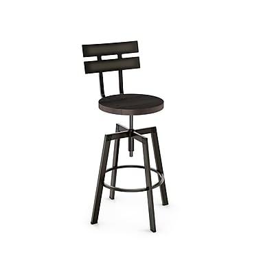 Amisco (41262-WE/1B5184) Rawdon Screw Metal Stool With Distressed Wood Seat