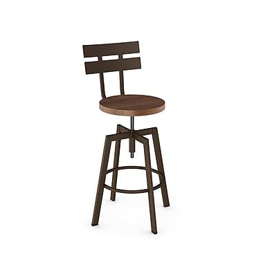 Amisco – Tabouret à vis en métal Rawdon avec siège en bois vieilli, brun martelé/brun moyen (41262-WE/1B7487)