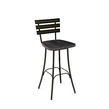 Amisco (41266-30WE/1B5184) Stadium Swivel Metal Barstool with Distressed Wood Seat, Gun Metal Finish