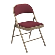 National Public Seating Commercialine Fabric Upholstered  Folding Chair, Burgundy 100/Pack (968/100)