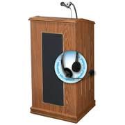 "Oklahoma Sound Prestige 47"" High Sound Lectern with Wireless Headset Mic Medium Oak (711-MO/LWM-7)"