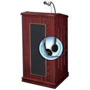"Oklahoma Sound Prestige 47"" High Sound Lectern with Wireless Headset Mic Mahogany (711-MY/LWM-7)"