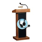 "Oklahoma Sound Orator 46"" High Sound Lectern with Wireless Headset Mic Medium Oak (800X-MO/LWM-7)"