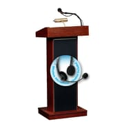 Oklahoma Sound Orator 46 inch High Sound Lectern with Wireless Headset Mic Mahogany (800X MY/LWM 7) by