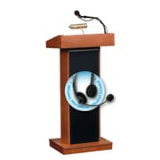 "Oklahoma Sound Orator 46"" High Sound Lectern with Wireless Headset Mic Cherry (800X-CH/LWM-7)"