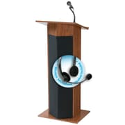 "Oklahoma Sound Power Plus 46"" High Sound Lectern with Wireless Headset Mic Medium Oak (111PLS-MO/LWM-7)"