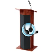 "Oklahoma Sound Power Plus 46"" High Sound Lectern with Wireless Headset Wireless Mic Mahogany (111PLS-MY/LWM-7)"