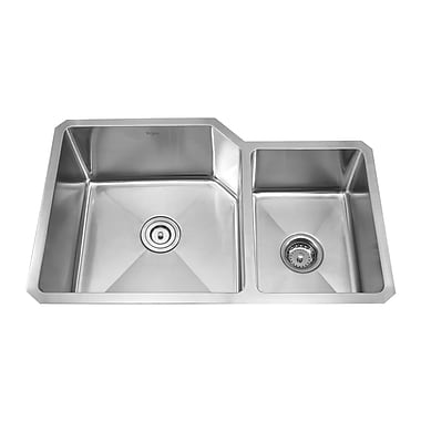 Kraus 32'' x 20'' Undermount 70/30 Kitchen Sink w/ 18.5'' Faucet and Soap Dispenser; Stainless Steel