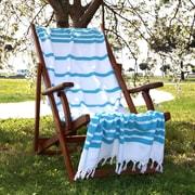 Linum Home Textiles Herringbone Weave Cotton Pestemal Bath Towel; Turquoise