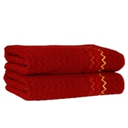 Linum Home Textiles Montauk Zig Zag Bath Towel (Set of 2); Burgundy