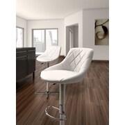 dCOR design Devilin Adjustable Height Swivel Bar Stool with Cushion; White