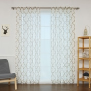 Best Home Fashion, Inc. Sheer Linen Moroccan Print Single Curtain Panel; Beige
