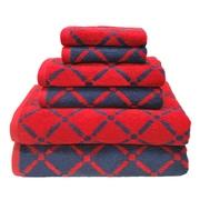 Simple Luxury Superior Luxurious Diamonds 6 Piece Towel Set; Red/Navy Blue