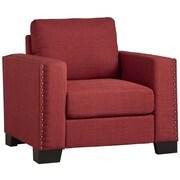 Kingstown Home Navarro Nailhead Trim Arm Chair; Red