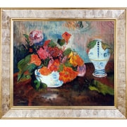 La Pastiche 'The Vase of Nasturtiums, 1886' by Paul Gauguin Framed Painting on Canvas