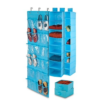 Honey-Can-Do 4-Piece Room Velcro-Style Straps & Clear Vinyl Organization Set, Ocean Blue