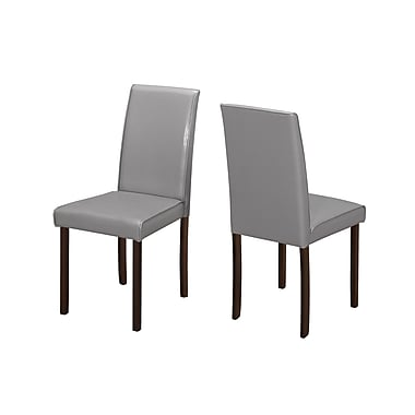 Monarch Grey Leather-look Dining Chair, 2/Pack (I 1173)