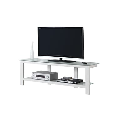 Monarch TV Stand, White Metal with Frosted Tempered Glass, (I 2510)