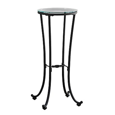 Monarch Accent Table, Black with Tempered Glass (I 3332)