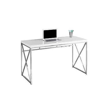 Monarch Computer Desk with a White Top Finish and Chrome Legs