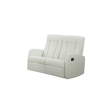 Monarch Reclining Bonded Leather Love Seat, Ivory (I 82iv-2)